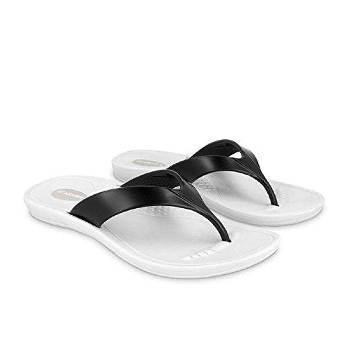 (Okabashi Marina Women Open Toe Synthetic Silver Thong Sandal (8.0-9.0 Women's (ML), White/Black))