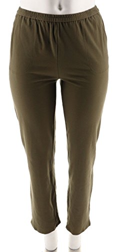 Linea Leisure Louis Dell'Olio Knit Pull-On Pants A262070, Cypress, M
