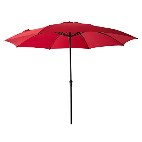 FLAME&SHADE 11′ Patio Market Umbrella for Large Outdoor Balcony Backyard Table Deck or Pool Terrace, Red