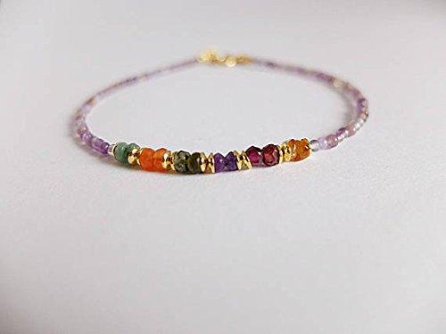 Amethyst bracelet,multi gemstone bracelet, Beaded multi gemstone stacking bracelet Stacking Amethyst bracelet skinny gemstone amethyst 2-3 mm