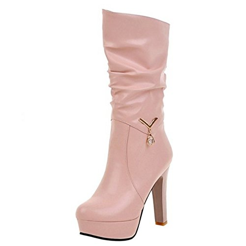 Talon Femmes Plateforme Bottes Haut Pink Mi Soiree Mode RAZAMAZA 4wXOB
