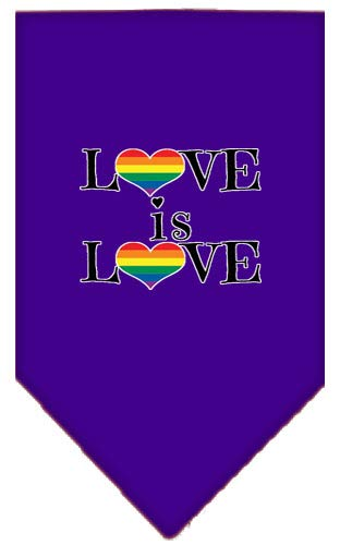 (Mirage Pet Products Love is Love Screen Print Bandana Purple Large)