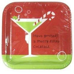 Christmas Cocktail Dessert Plate Martini