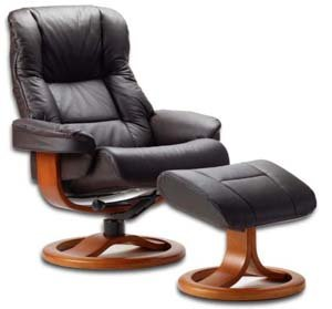 Fjords 855 Loen Large Leather Recliner Norwegian Ergonomic Scandinavian Lounge Reclining Chair Furniture Nordic Line Genuine Havana Dark Brown Leather Cherry Wood Cherry Leather Recliner
