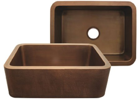 Whitehaus WH2519COFCOBS Copperhaus rectangular undermount sink with smooth front Copperhaus Rectangular Copper Sink