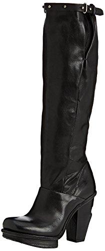 A.S.98 Damen Leder Langschaft Stiefel Biker Boots schwarz