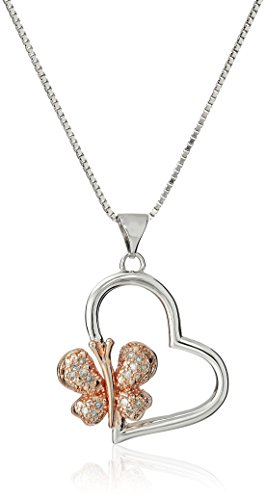Sterling Silver Diamond Two Tone Butterfly Heart Pendant Necklace, (Butterfly Heart Pendant)