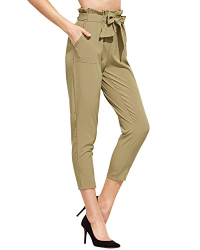 SweatyRocks Women's Elastic Belted High Waist Casual Loose Long Pants with Pocket (Large, Khaki#1)