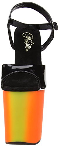 Pleaser RAINBOW-809UV - Sandalias de Vestir de Material Sintético Para Mujer multicolor - Mehrfarbig (BLACK/NEON-MULTI COLOR)
