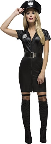 Smiffy's Women's Fever Corrupt Cop Costume, Dress, Belt and Hat, Cops, Fever, Size 6-8, 31901 (Adult Cop Belt)
