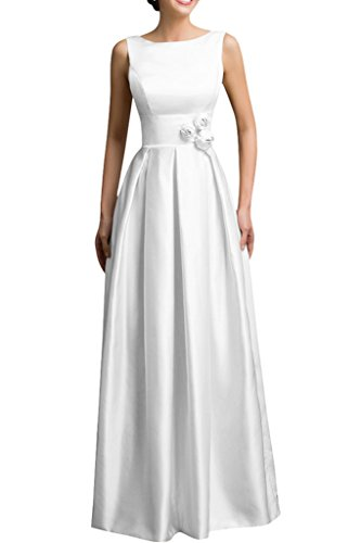Scoop Evening Satin Avril Sweep line Dress White Sleeveless A Flower Dress Party R0w0qaZ
