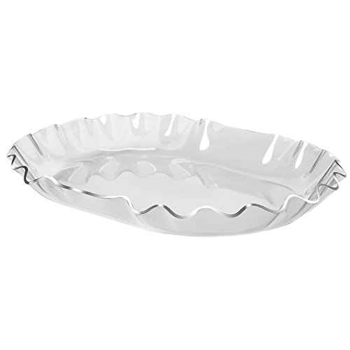 12 Inch Premium Food-Grade Clear Acrylic Appetizer Serving Platter with Scalloped Edged Design