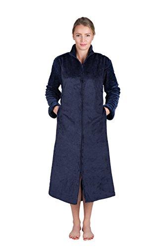 (Super Plush Front Zipper Scroll Texture Robe Zipper Bathrobe (Small, Indigo Blue))