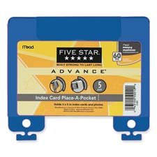 """UPC 043100500100, Mead Five Star Advance Index Card Place-A-Pocket (MEA500100) 5""""x5-7/8"""" Assorted Colors, 5-pack"""