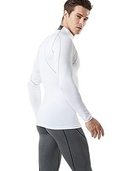 Tesla Tm-mut12-wht_large Men's Mock Long-sleeved T-shirt Cool Dry Compression Baselayer Mut12 4