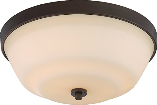 Nuvo Lighting 60/5904 Willow 2 Light 60W A19 max. Medium Base Flush Dome with White Glass, Aged -
