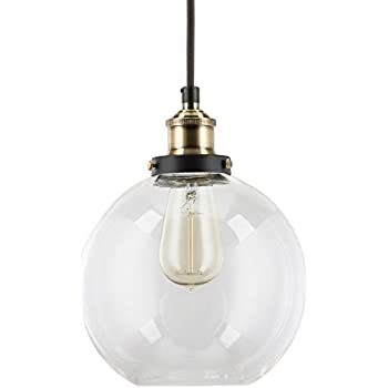 Primo Industrial Factory Pendant Lamp - Antique Brass One-Light Fixture with Glass Shade Exposed Hardware Fabric Wrapped Cord - 5-Inch Canopy - Downlight Modern Vintage Linea di Liara LL-P429-AB
