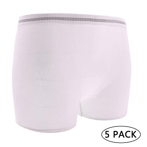 Mesh Postpartum Underwear Seamless with High Comfortable Waist Band Light Support Panties Incontinence Pad Breathable for Women (White- 5 Pack, L)