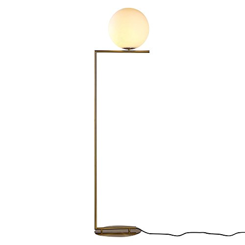 Metal Lamp Floor Round (KunMai Modern White Glass Globe Shade Linear 1-Light Floor Lamp with Round Base in Brass for Bedroom Office Living Room)