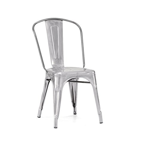 Nicer Furniture Set of 4-Stackable Industrial Chic Xavier Pauchard Tolix A Style Dining Chair, Galvanized