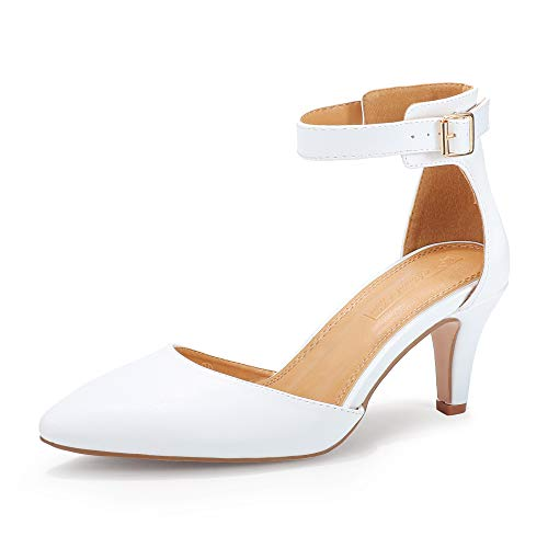 VEPOSE Womens Low Heels Dress Pumps 3 Inch Kitten Pointed Business Casual Bridal Wedding Shoes