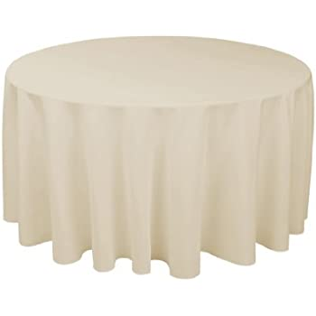 linentablecloth 108 inch round polyester tablecloth white home kitchen. Black Bedroom Furniture Sets. Home Design Ideas