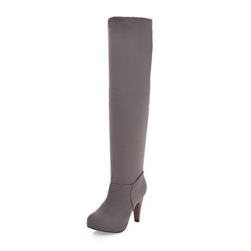 Top Imitated High High Round Closed Gray Solid Women's WeenFashion Suede Boots Heels Toe wzqaRXxU