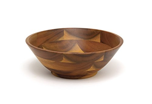 Lipper International 1223 Acacia Wood Footed Round Serving Bowl for Fruits or Salads, Small, 7