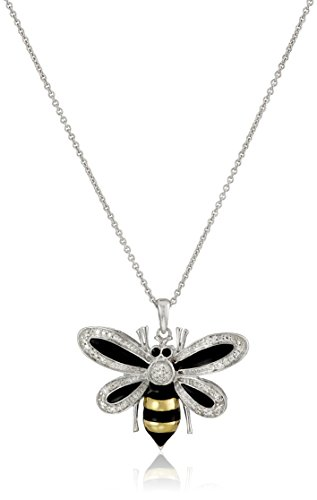 Sterling Silver Diamond Enamel Bumble Bee Pendant Necklace (1/10 cttw), (Enamel Bee Pendant)