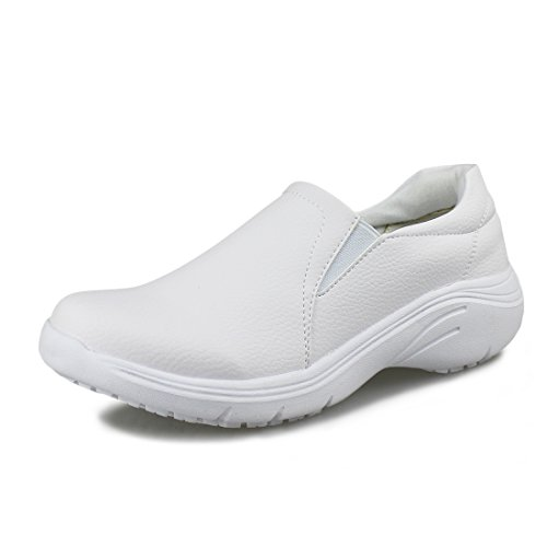 Photo Hawkwell Women`s Lightweight Comfort Slip Resistant Nursing Shoes,White PU,6.5 M US