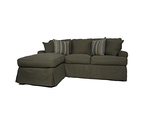 Sunset Trading Horizon Slipcovered Sleeper Sofa and Chaise, Forest Green