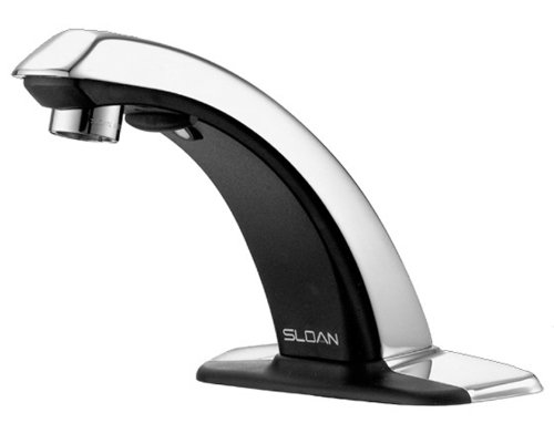 Sensor Splash Mount Faucet (Sloan Valve ETF-80-4-LT Optima Sensor Activated Electronic Hand Washing Faucet and Trim Plate for 4-Inch Centerset Sink Less Transformer, Chrome)