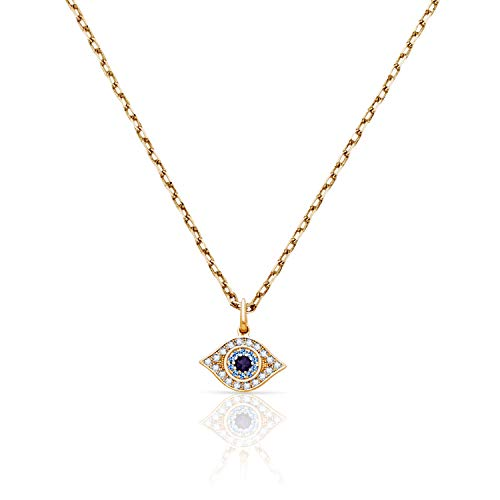 (Jewel Connection Real 14K Yellow Gold Evil Eye Wisdom Pendant Aqua Colored Stone Accents Women Girls (18))