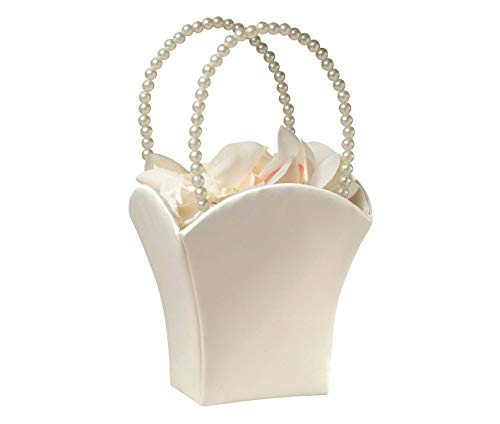 Flower Girl Bags - Plain Pearl Handle Ivory Flower Basket