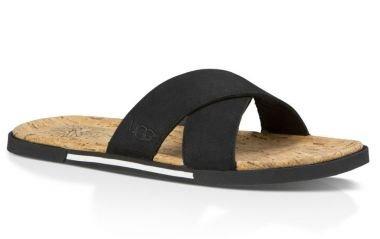 UGG Australia Men's Ithan Cork Slide Sandal Black 10 M US (Ugg Australia Mens Ithan Sandal)