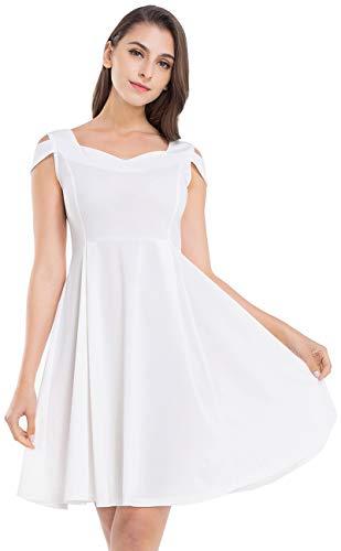 JTANIB Cocktail Party Dresses for Women, A Line Cold Shoulder V Neck Skater Dresses,White S