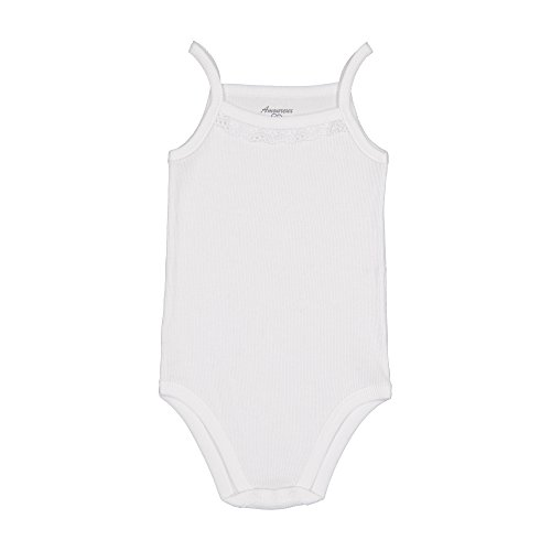 Ribbed Boy Beater Tank - Amoureux Bebe Baby Girls Camisole Onesies White 100% Cotton Ribbed Lace Trim,24m(4)