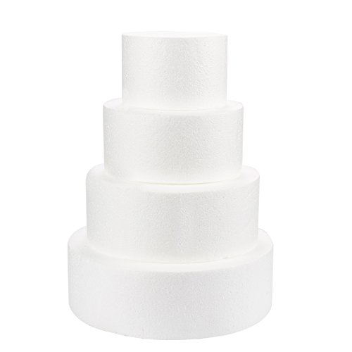 Round Cake Dummy - 4-Piece Polystyrene Foam Dummy Cake for Wedding...