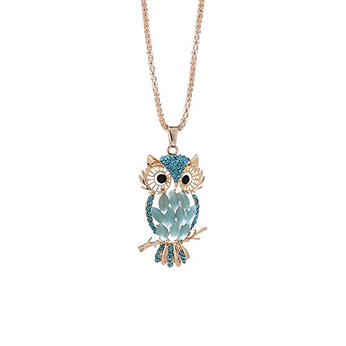 Gbell Girls Women Charm Crystal Cute Owl Long Necklace Pendant Fashion,75cm Blue White Simple Sweater Necklace Jewellery Gifts,Great for Costume Party, Wedding,Casual