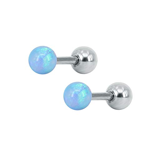 20G White Blue Purple Opal Ball Stud Earrings Stainless Steel Forward Helix Screw Earrings Nose Piercing 3mm for Women Girls (Light Blue)