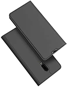 DUX DUCIS Cover for OnePlus 6T Skin Pro Series Stand Case with Card Holder Leather Shell Cover - Dark Grey
