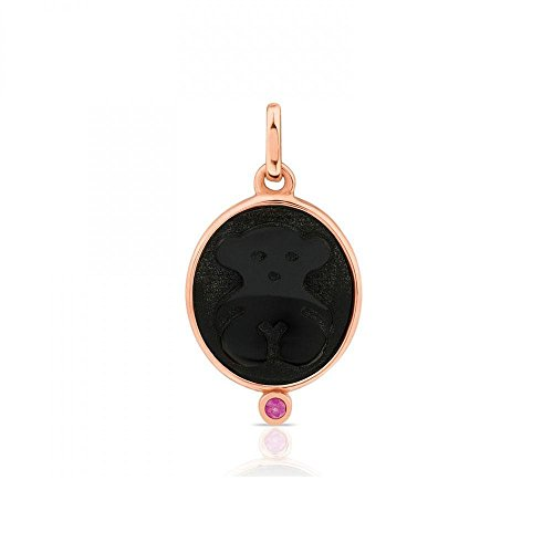 TOUS Onyx and Ruby Camee Rose Gold Plated (Cameo Sterling Silver Setting Measures)