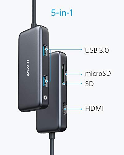 Anker USB C Hub, 5-in-1 USB C Adapter, with 4K USB C to HDMI, SD/TF Card Reader, 2 USB 3.0 Ports, for MacBook Pro 2016/2017/2018, Chromebook, XPS, and More