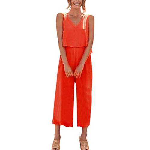 vermers 2019 Hot!!Party Jumpsuits Women Wide Leg Long Playsuit Linen and Cotton Short-Sleeved Overalls ()