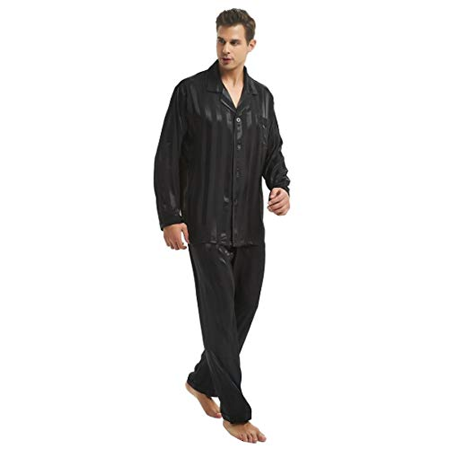 Mens Silk Satin Pajamas Set Sleepwear Loungewear Black 3XL