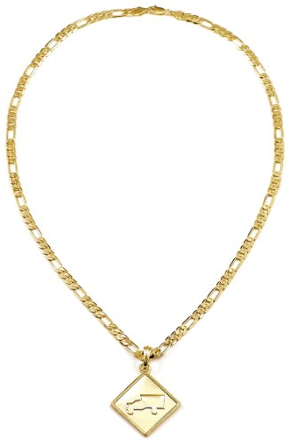 Trukfit New Pendant Necklace Gold Color On 24 Inch 5 mm Wide Figaro Style - Wayne Lil Style