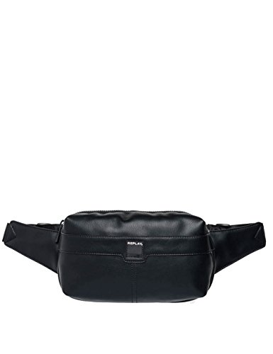 Replay Men's Men's Faux Leather Black Waist Pack Black by Replay