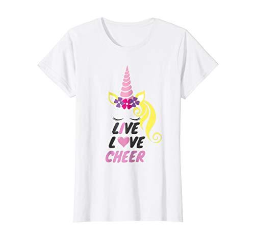 Cheerleader Dark T-shirt - Live Love Cheer Unicorn Cheerleader T-Shirt