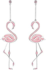 FENICAL Fashionable Flamingo Earrings Long Chain Dangle Earrings Jewelry for Women Girls (Pink)
