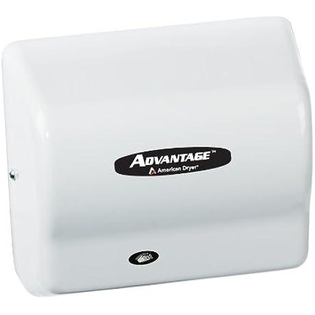 American Dryer AD90 M Advantage Steel Standard Automatic Hand Dryer White Epoxy Finish 1 8 HP Motor 100 240V 5 5 8 Length X 10 1 8 Width X 9 3 8 Height